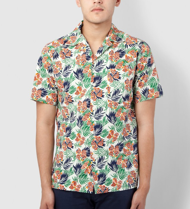 Orange Green Flower Short Sleeve Vacation Shirt