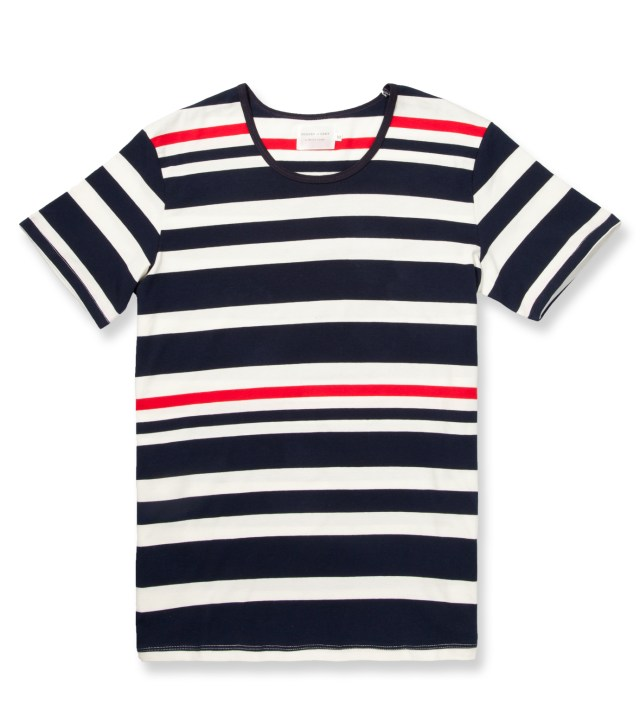 Navy/Red Multi Stripe Low Crewneck T-Shirt