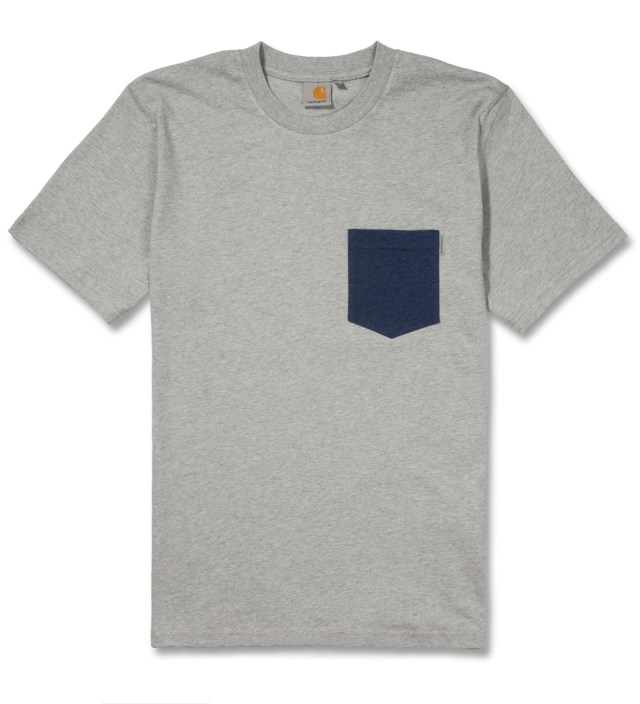 Heather Grey/Heather Navy Contrast Pocket T-Shirt