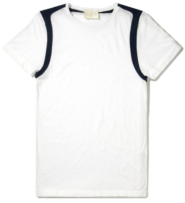 White/Navy Strap Shoulder T-Shirt