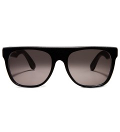 SUPER BY RETROSUPERFUTURE Flat Top Black Leather Sunglasses Picture