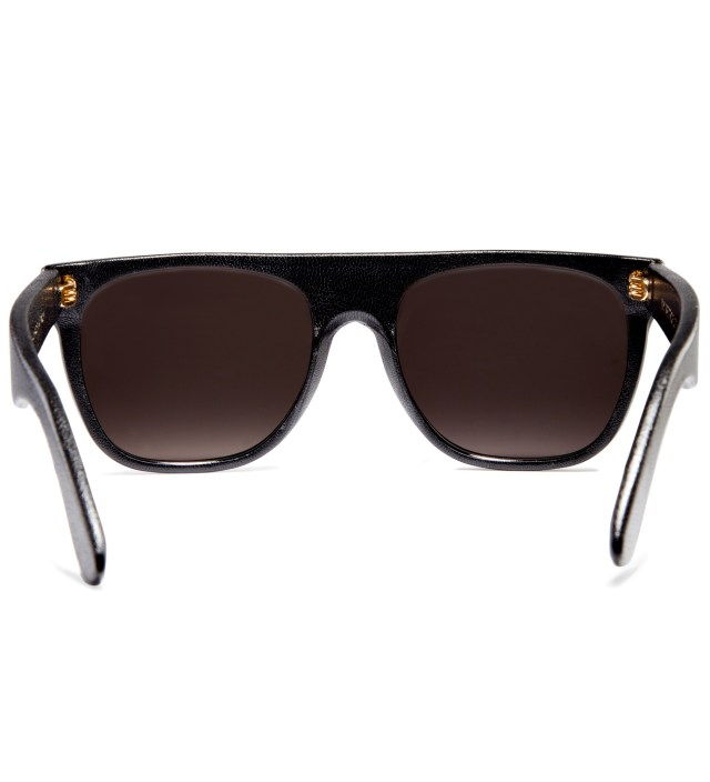 Flat Top Black Leather Sunglasses