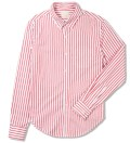 Red Bold Dobby Stripe Button Down Shirt
