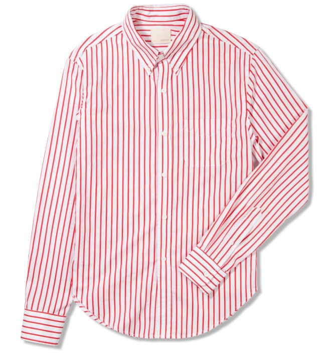 Red Bold Dobby Stripe Button Down Shirt