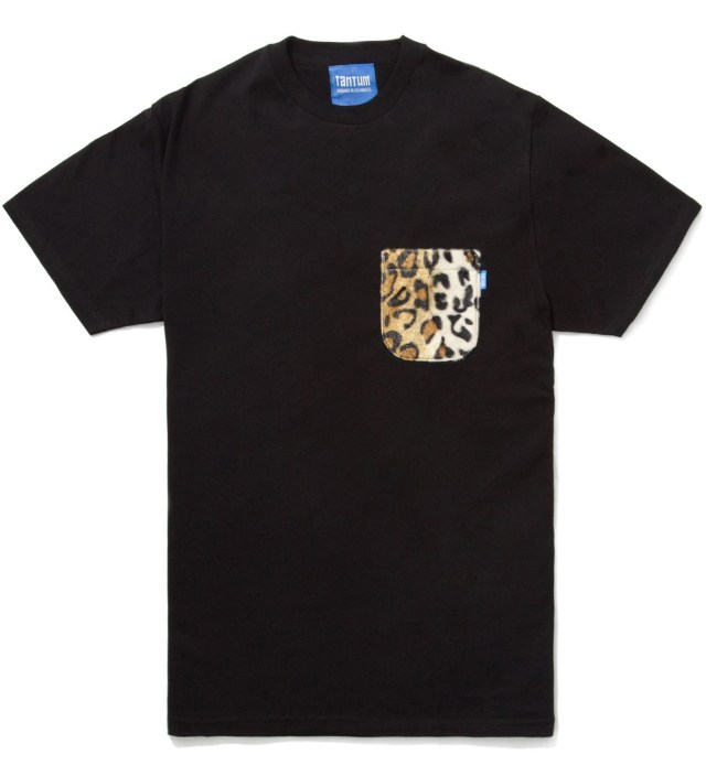 Black Faux Fur Leopard Pocket T-Shirt