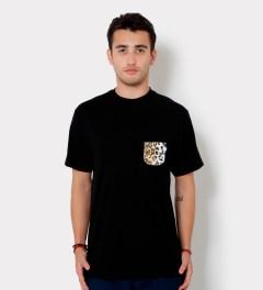 Tantum Black Faux Fur Leopard Pocket T-Shirt  Model Picutre