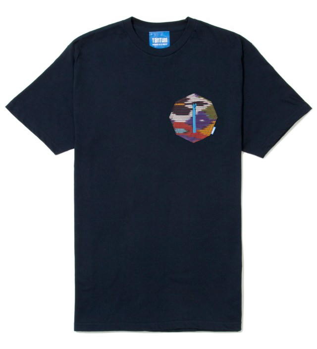 Navy Blue Ikat 8 Sides Pocket T-Shirt