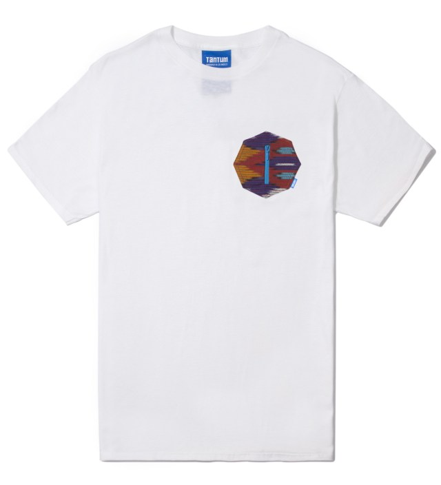 White Ikat 8 Sides Pocket T-Shirt