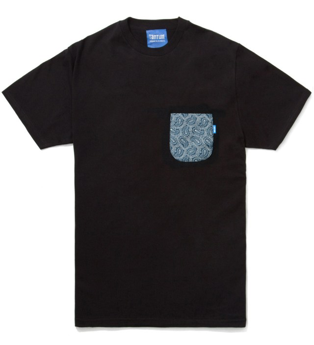 Black Bandana Blue Paisley T- Shirt