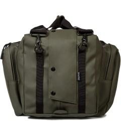 RAINS Green Duffle Bag Model Picture