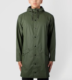 RAINS Army Green Long Jacket Model Picture