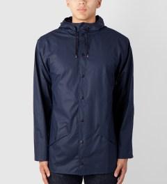 RAINS Blue Jacket Model Picture