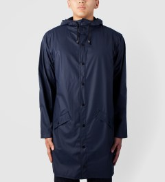 RAINS Navy Long Jacket Model Picture