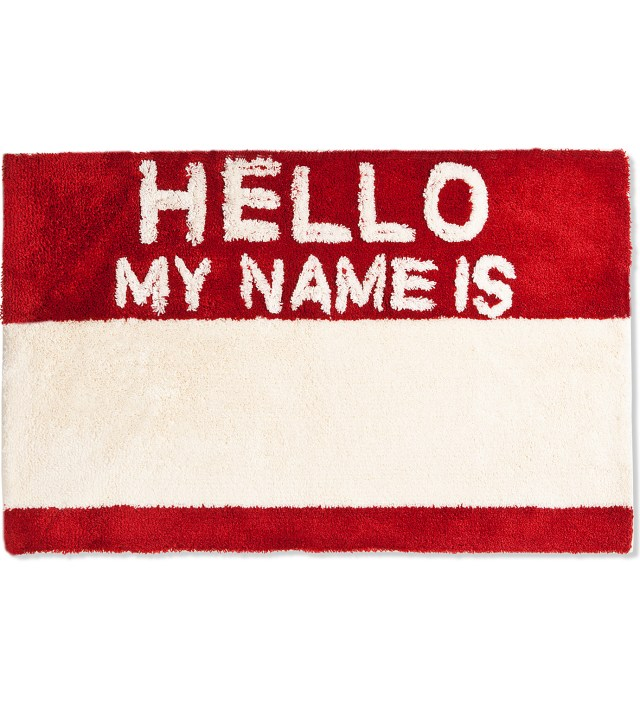 Red Hello My Name Is Rug