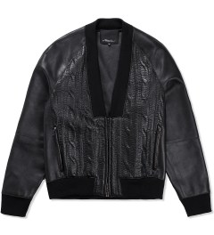 3.1 Phillip Lim Black Zip Up Cardigan w/ Combo Front Picture