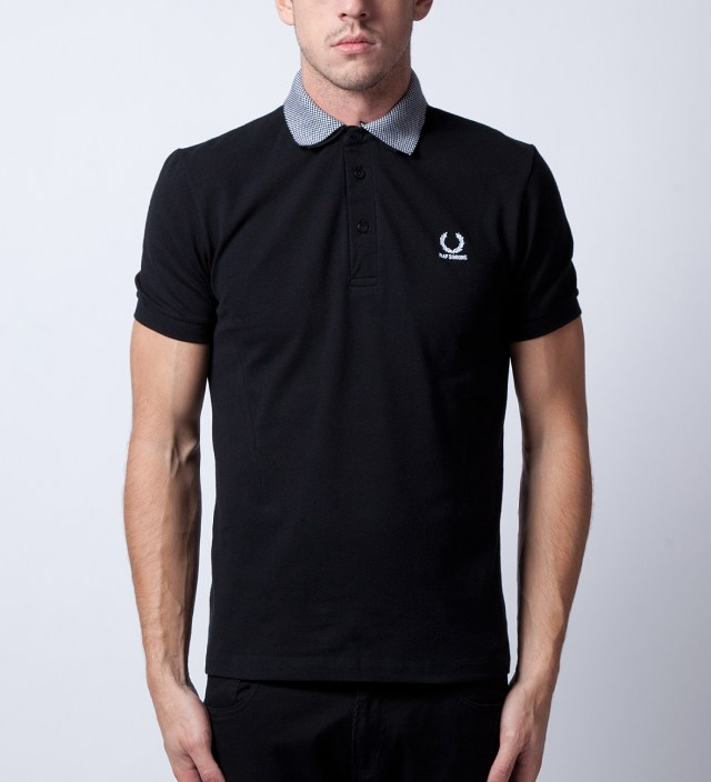 Black Shirt With Checkerboard Collar Polo