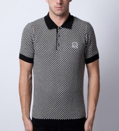 Raf Simons x Fred Perry Black Knitted Checkerboard FP Shirt  Model Picture