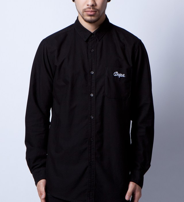 Black Oxford Embroidery Detail Shirt