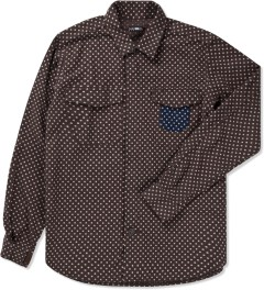 CASH CA Brown Dot Zip Shirt Picture