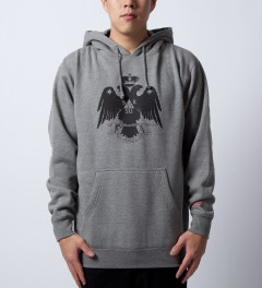 SSUR Heather Grey Deus Hoodie Model Picutre