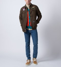Mishka Orange Rumble Cardigan  Model Picture