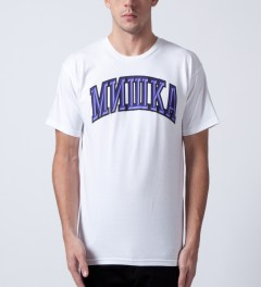 Mishka White Cyrillic Varsity II T-Shirt  Model Picture