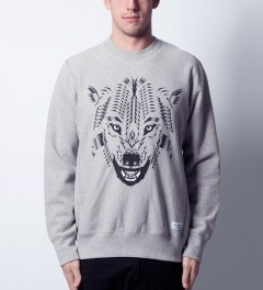 Raised by Wolves Heather Grey GDS Wolf Crewneck Sweater  Model Picutre