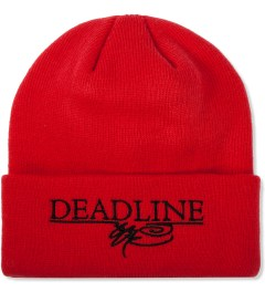 SSUR SSUR x Deadline Red Printed Logo Beanie Model Picture