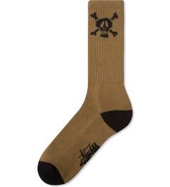 Stussy Olive Skull Crew Sock  Picutre
