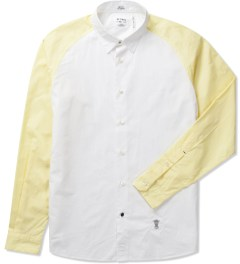 "Bedwin & The Heartbreakers Yellow ""Max"" L/S Bicolor R.Sleeve Broad Shirt  Picutre"