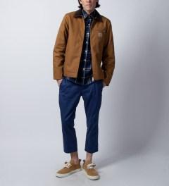 DQM Blue Steamer Plaid Cotton Flannel Shirt  Model Picture