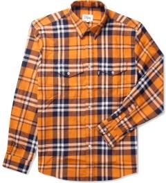 DQM Orange Steamer Plaid Cotton Flannel Shirt  Picture