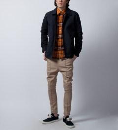 DQM Orange Steamer Plaid Cotton Flannel Shirt  Model Picture