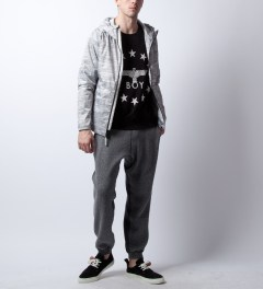 Reigning Champ Heather Ash RC-4019-1 Packable Printed Poly Jacket  Model Picture
