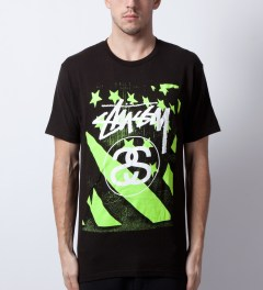 Stussy Black/Green Stussy Flag T-Shirt Model Picutre