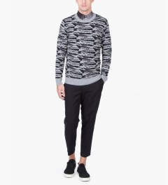 A.P.C. Grey/Black Tiger Streaked Motif Sweater Model Picture