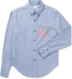 Band of Outsiders Light Blue Solid Oxford LS Button Down W/Split Pocket Shirt   Picutre