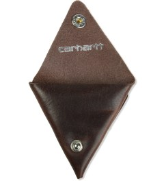 Carhartt WORK IN PROGRESS Leather Dark Brown Dime Case  Model Picture