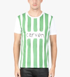 Carven White/Green Watercolor Jersey T-Shirt  Model Picture