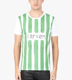 Carven White/Green Watercolor Jersey T-Shirt  Model Picutre