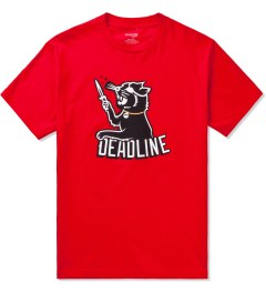 Deadline Red Black Cat T-Shirt Picutre