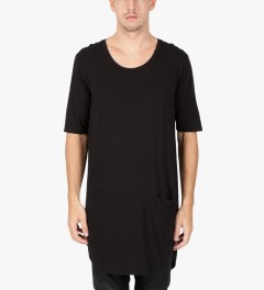 Munsoo Kwon Black Deep Neck Oversized T-Shirt Model Picture