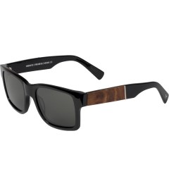 Shwood Grey Polarized Black/Elm Burl Haystack Sunglasses    Model Picutre