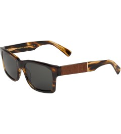 Shwood Grey Polarized Tortoise Shell/Mahogany Burl Haystack Sunglasses   Model Picutre