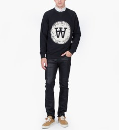 Wood Wood Dark Navy Hester Marble Seal Sweatshirt Model Picture