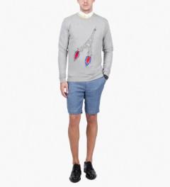 Commune De Paris Blue Panto Lin Shorts Model Picutre