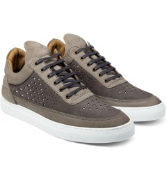 Filling Pieces All Grey Lowtop Gradient Perforated Shoe Model Picutre