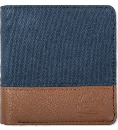 Herschel Supply Co. Washed Navy/Tan Leather Kenny Canvas Wallet Picutre