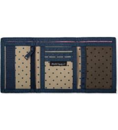 Herschel Supply Co. Khaki Polka Dot/ Navy Hilltop Wallet Model Picutre