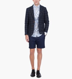 i love ugly. Navy Check Blazer  Model Picture